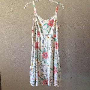 White Summer Dress with Flower Pattern